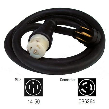 20a Generator Power Cord (Generac 6389 25' 50-Amp Male to Female Locking Generator Electrical Power)