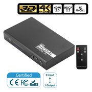 Insten 3-Port 4K HDMI Switch 3 In 1 Out Automatic HDMI 2.0 Selector Switcher with IR Remote, 4K@60Hz 18Gbps HDCP 2.2 UltraHD 3D HDR10 Video Supports for HDTV PS4 PS3 Xbox One Blu-Ray Laptop Projector