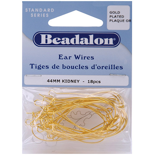 Beadalon Kidney Ear Wires 44mm, 18-Pack