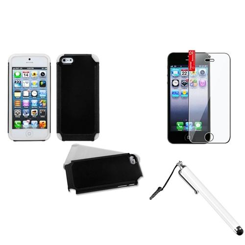 Insten Black/White Frosted Fusion Case For iPhone SE 5S 5 + Stylus + Protector