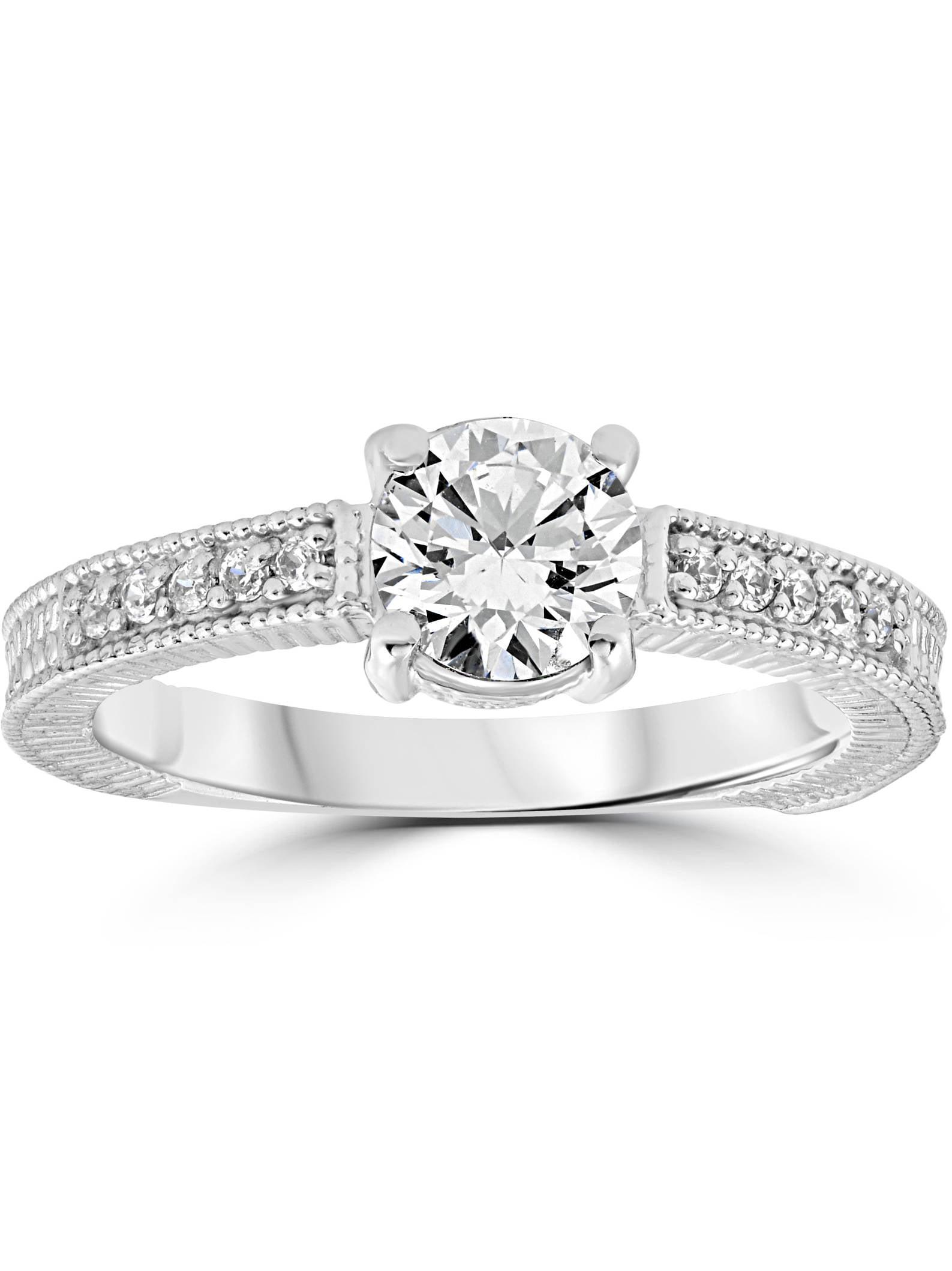 Vintage Diamond Engagement Ring 1 Carat 14K White Gold Round Brilliant Cut by Pompeii3