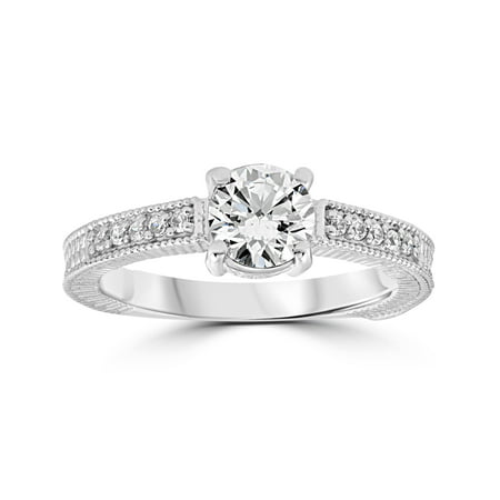 Vintage Diamond Engagement Ring 1 Carat 14K White Gold Round Brilliant