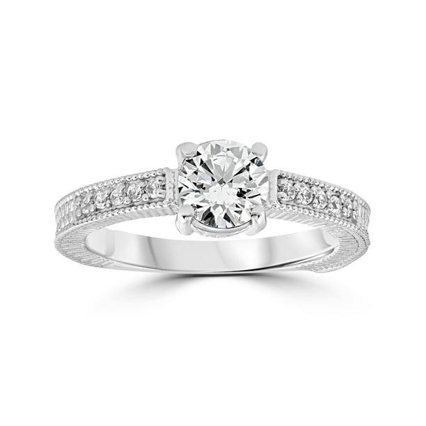 Pompeii3 Vintage Diamond Engagement Ring 1 Carat 14k White Gold Round Brilliant Cut Walmart Com Walmart Com