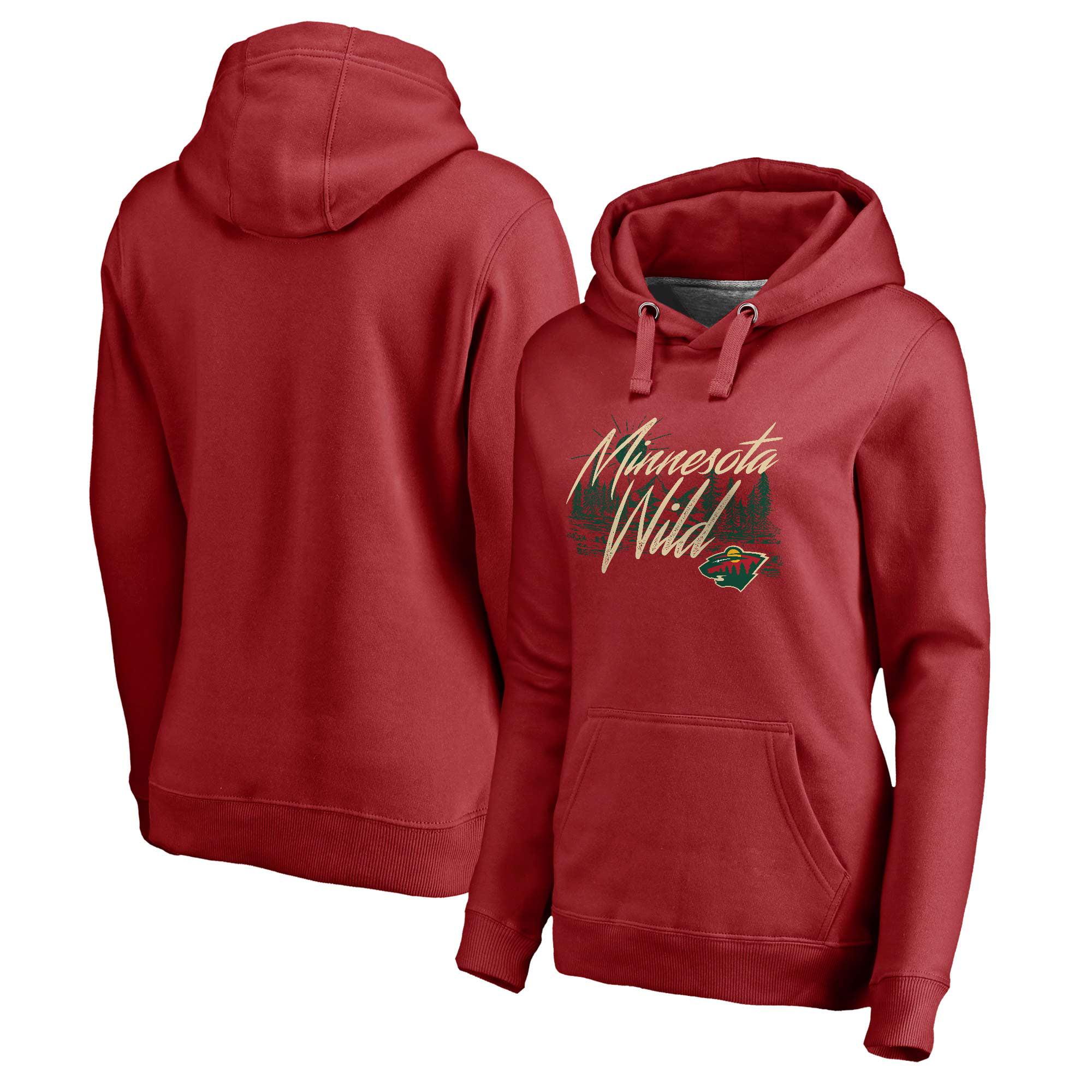 Women's Fanatics Branded Red Minnesota Wild Stay Wild Pullover Hoodie