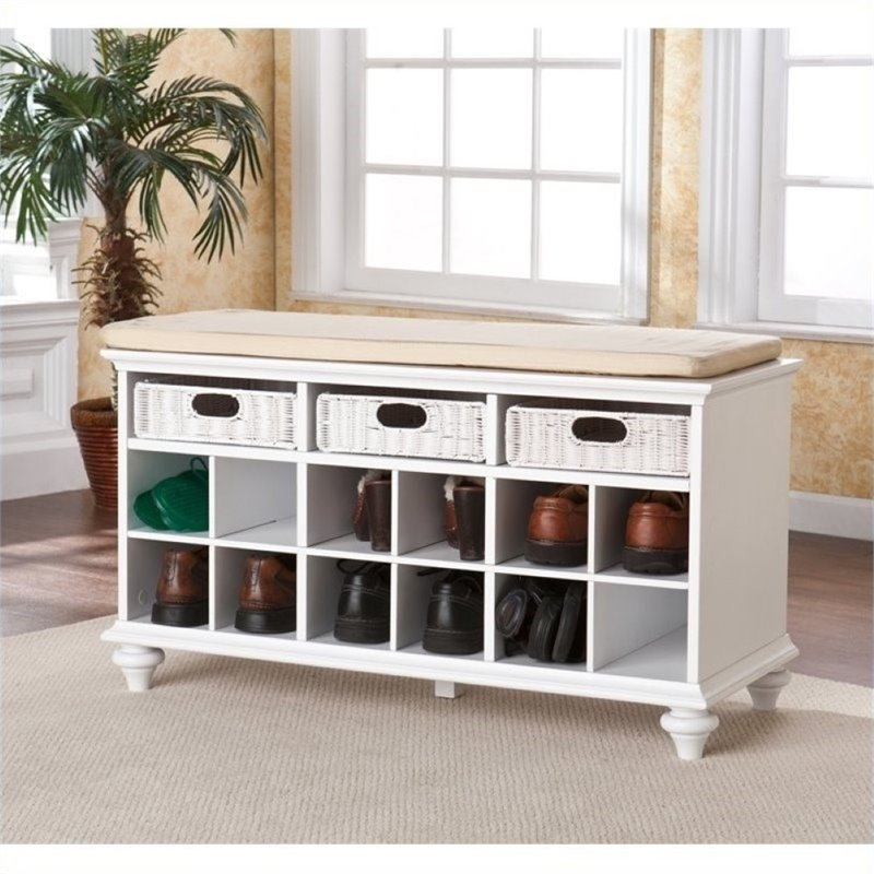 Pemberly Row Entryway Bench in White Finish