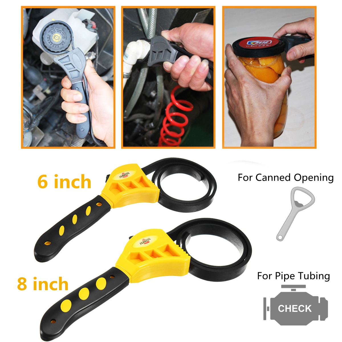 Rubber Strap Wrench Universal Black Wrench Adjustable Spanner Opener