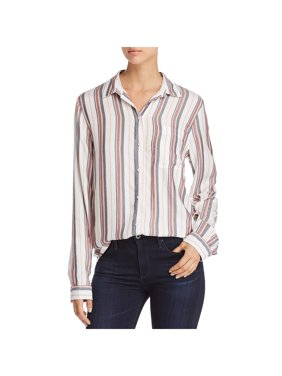 Beach Lunch Lounge Womens Alanna Striped Hi-Low Button-Down Top
