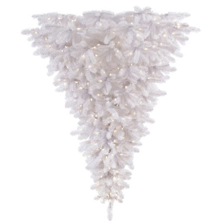 Vickerman 6' White Upside Down Artificial Christmas Tree with 600 Warm White LED Lights ()