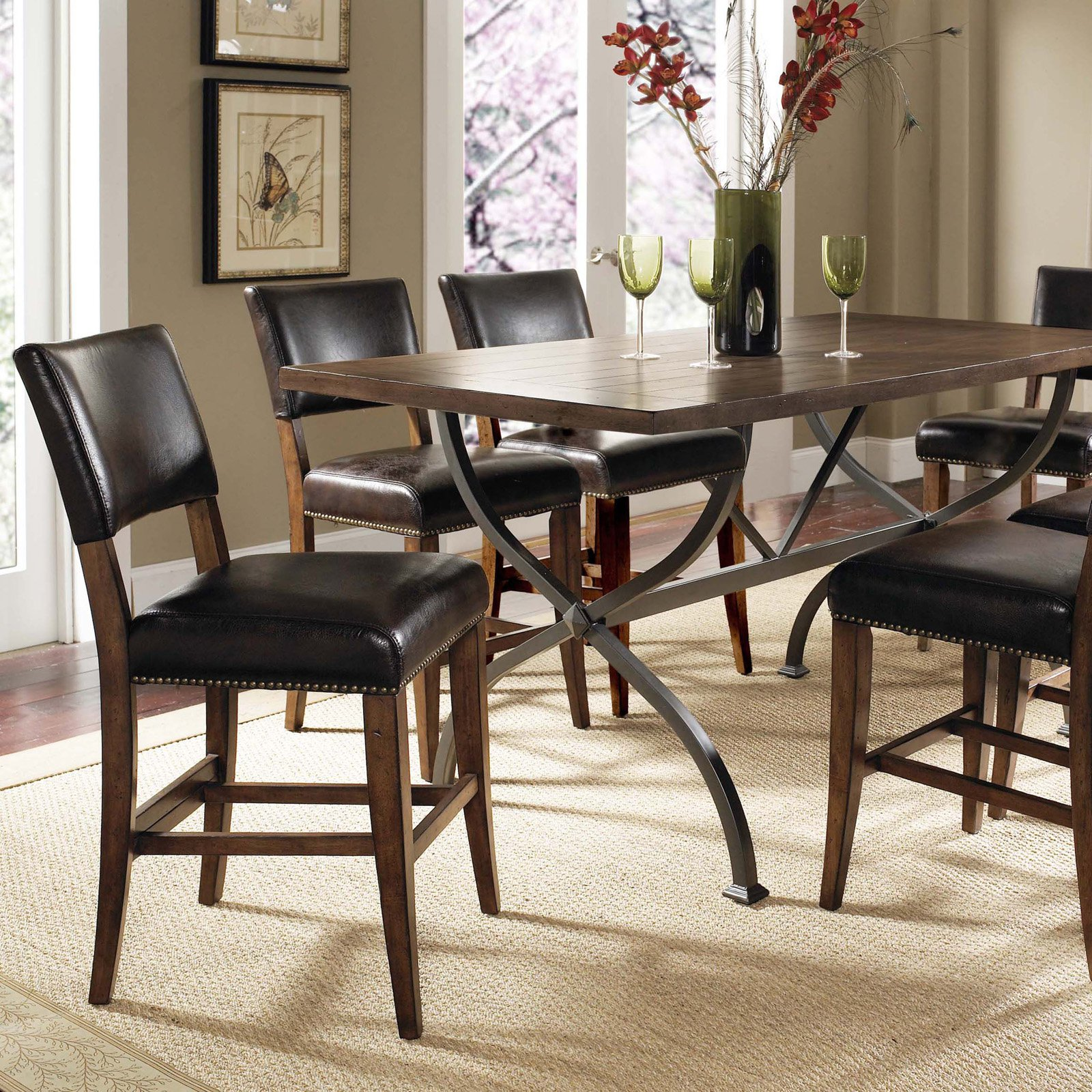 Hillsdale Cameron 7 Piece Counter Height Rectangle Wood Dining Table Set with Parson Chairs