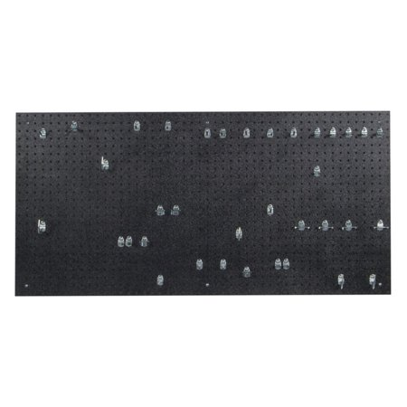 Locking Pegboard Hook - 24 In. W x 48 In. H x 3/16 In. D Black Polyethylene Pegboards Matte Front Texture with 36 pc. Locking Hook Assortment