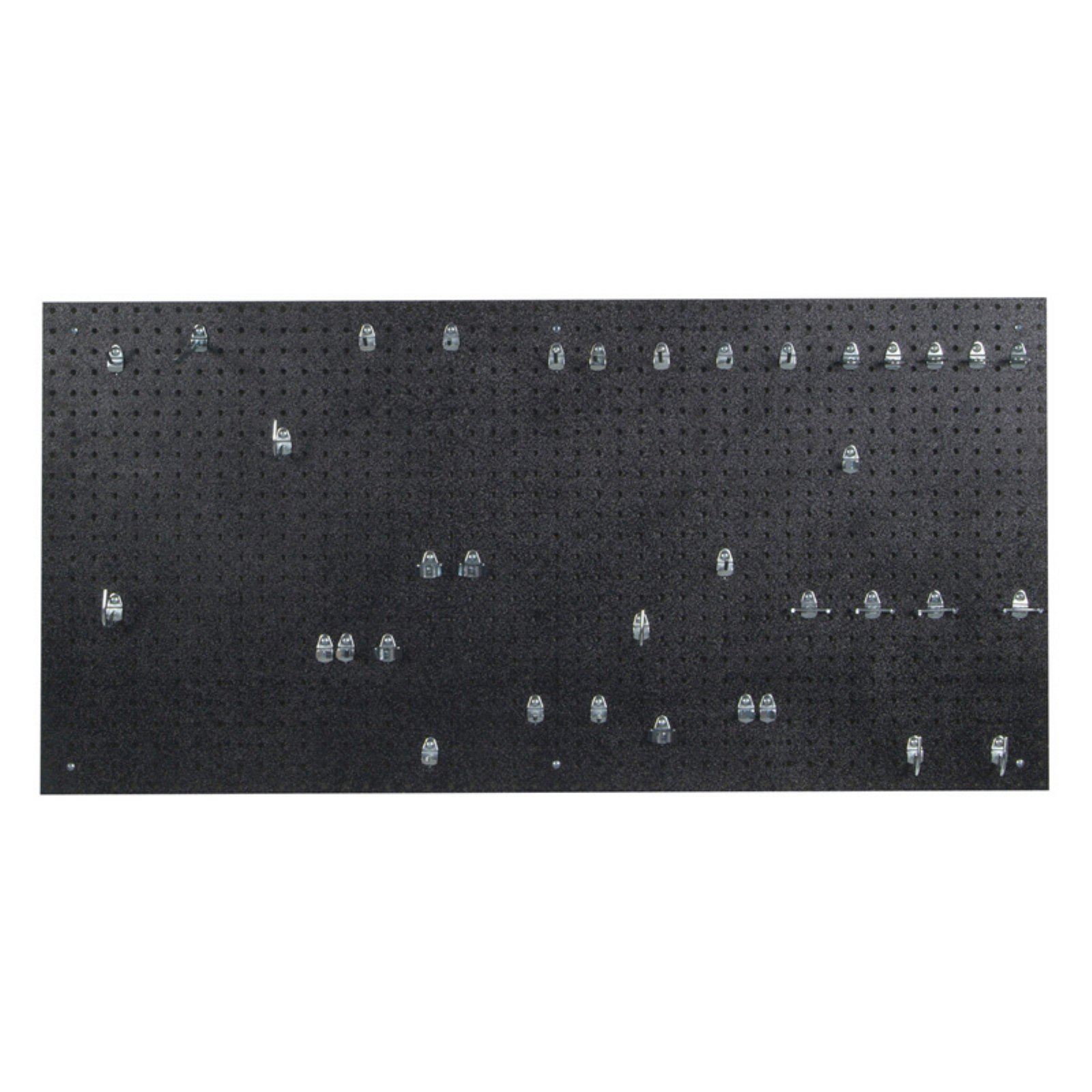 24 In. W x 48 In. H x 3/16 In. D Black Polyethylene Pegboards Matte Front Texture with 36 pc. Locking Hook Assortment