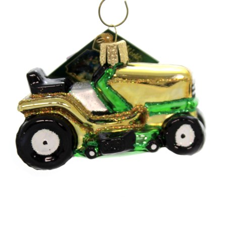Old World Christmas RIDING LAWN MOWER Glass Small Tractor Cut Grass (Best Way To Cut Small Lawn)