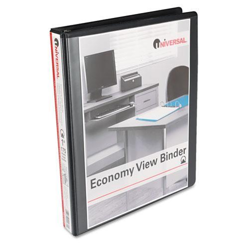 "Universal Round Ring Economy View Binder, 1"" Capacity, Black, 12/Carton"