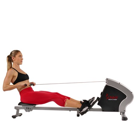 Sunny Health & Fitness Magnetic Rowing Machine Rower, LCD Monitor with Tablet Holder - Synergy Power Motion - SF-RW5801