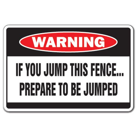 JUMP THIS FENCE Warning Aluminum Sign dog attack security fast fierce guard Aluminum Dog Fence