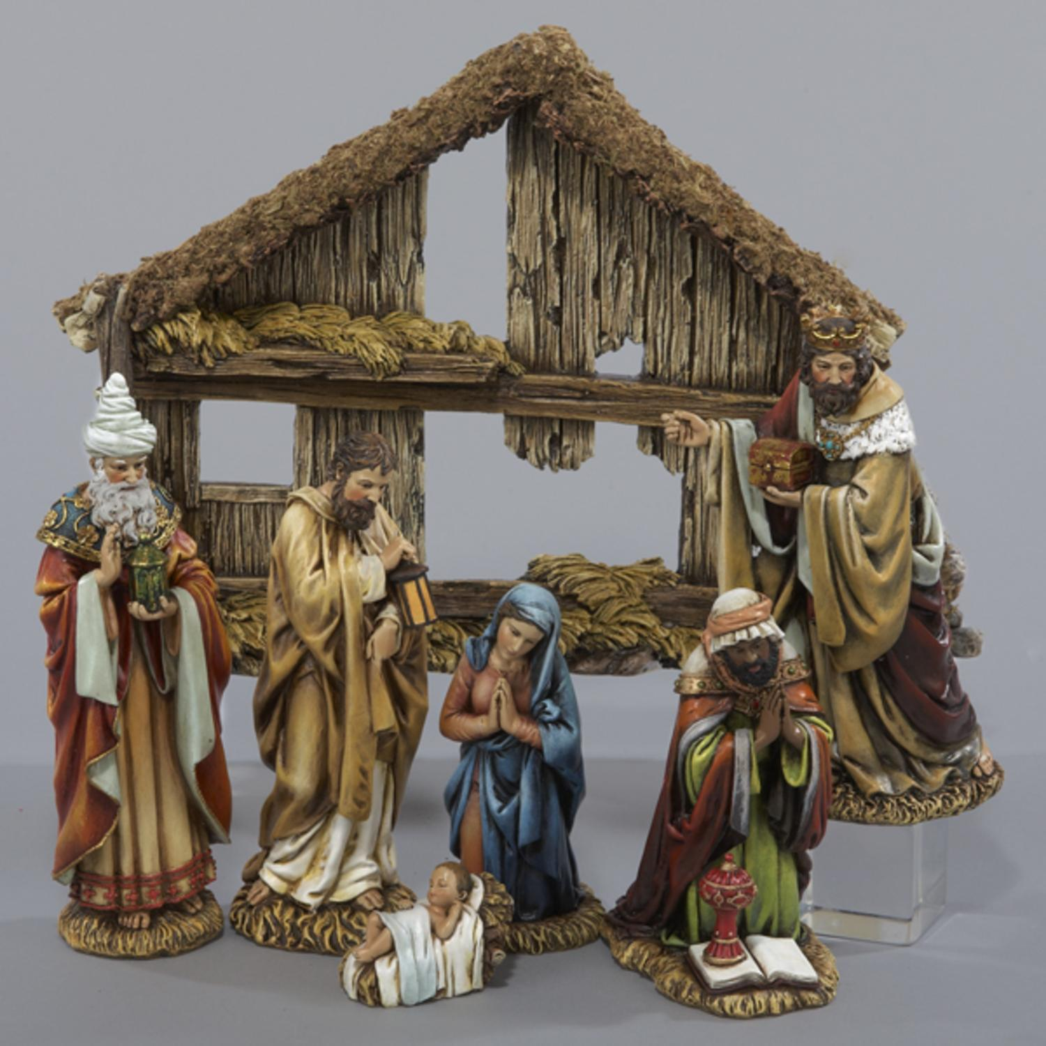 kurt adler 6 resin nativity set of 7 walmartcom - Nativity Christmas Decorations