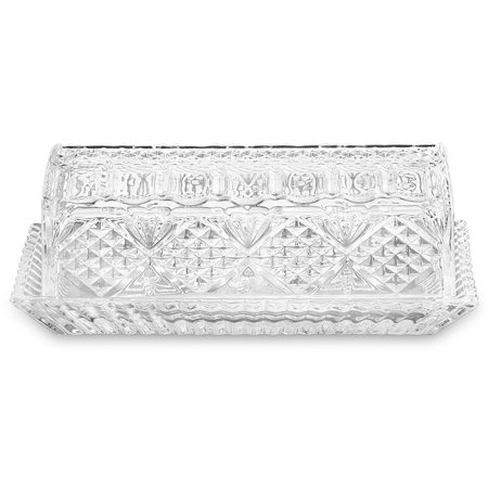 Bezrat Large, Deep, Danish Crystal Covered Butter Dish, Set Butter keeper, Well Sealed to Keep Butter Soft, Beautiful Decorative Design and Antique Look