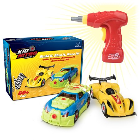 Build A Car Toys - Kid Nitro Build Your Own Car 2 Pack Toy Cars 53 Pc Set with Toy Car Power Drill for Take Apart Toys