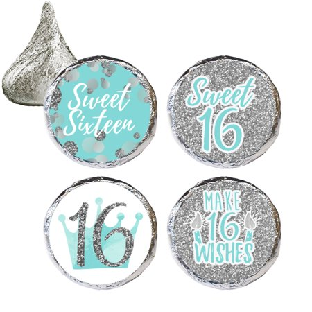 Sweet 16 Party Favor Stickers, 324 Count - Blue and Silver 16th Birthday Party Decorations, Sweet Sixteen Party Favors