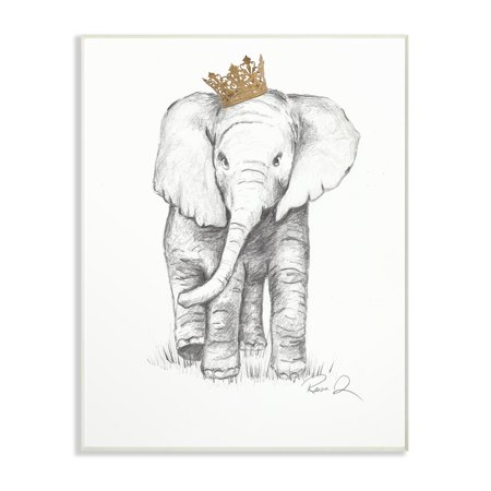 (The Stupell Home Decor Collection Elephant Royalty Graphite Drawing Wall Plaque Art, 10 x 0.5 x 15)
