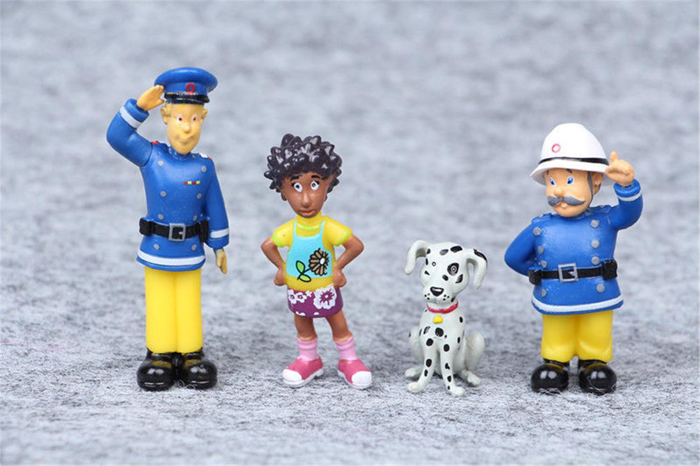 12pcs Fireman Sam 3cm-6cm PVC Action Figures Cartoon Doll Kid Toy New Year Gift