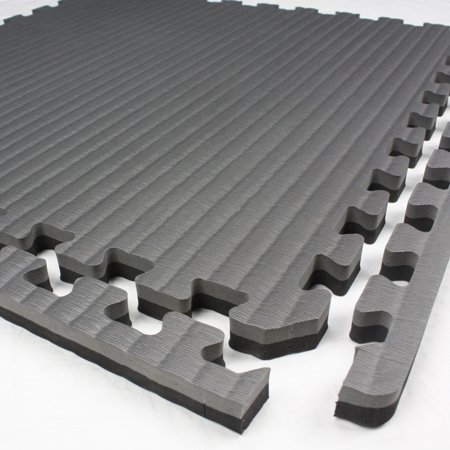 FlooringInc Tatami Tiles 2' x 2' Portable Gym Training Martial Arts Workout Mats Black Grey (1 Tile) ()