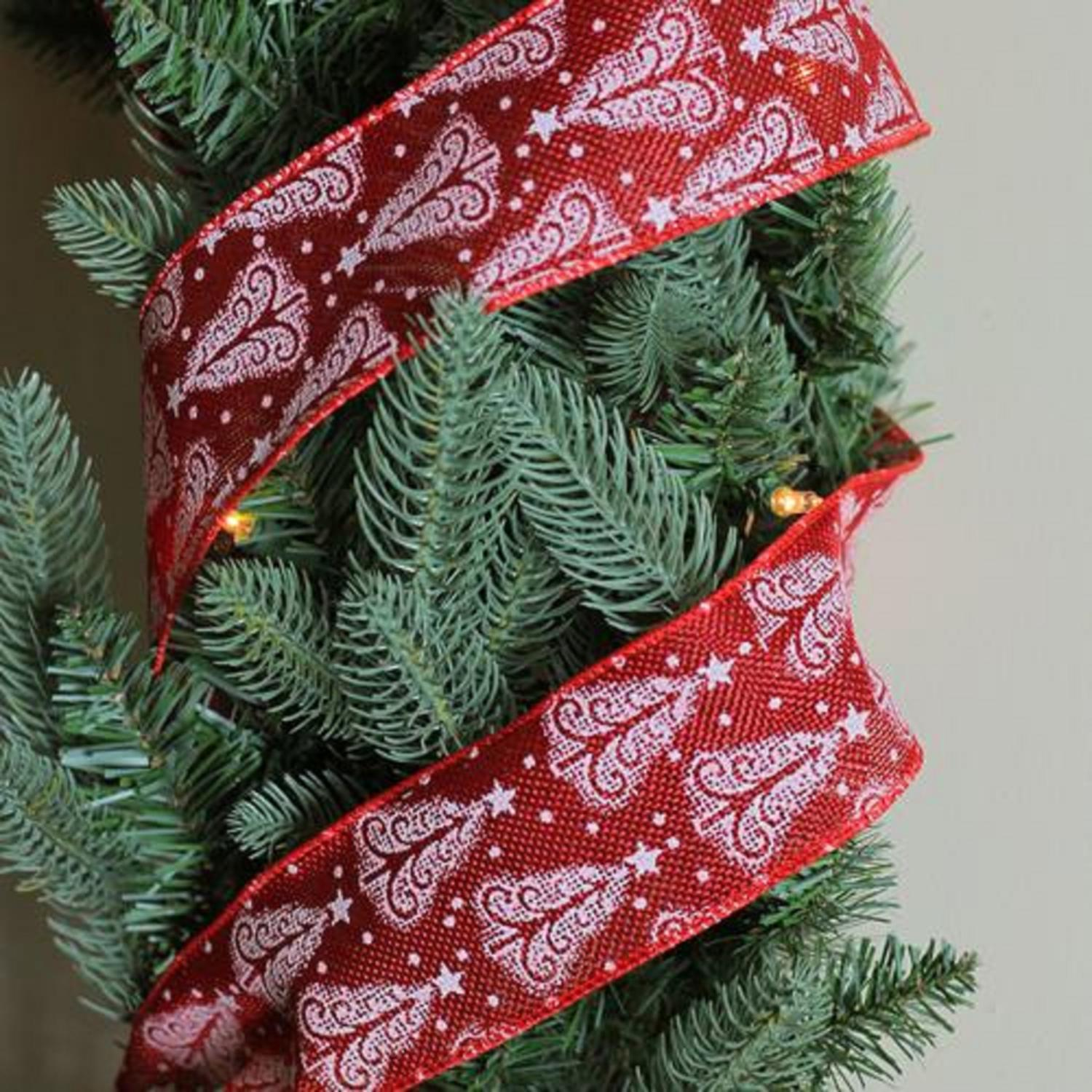 Red and Gold Reindeer Wired X-mas Craft Ribbon
