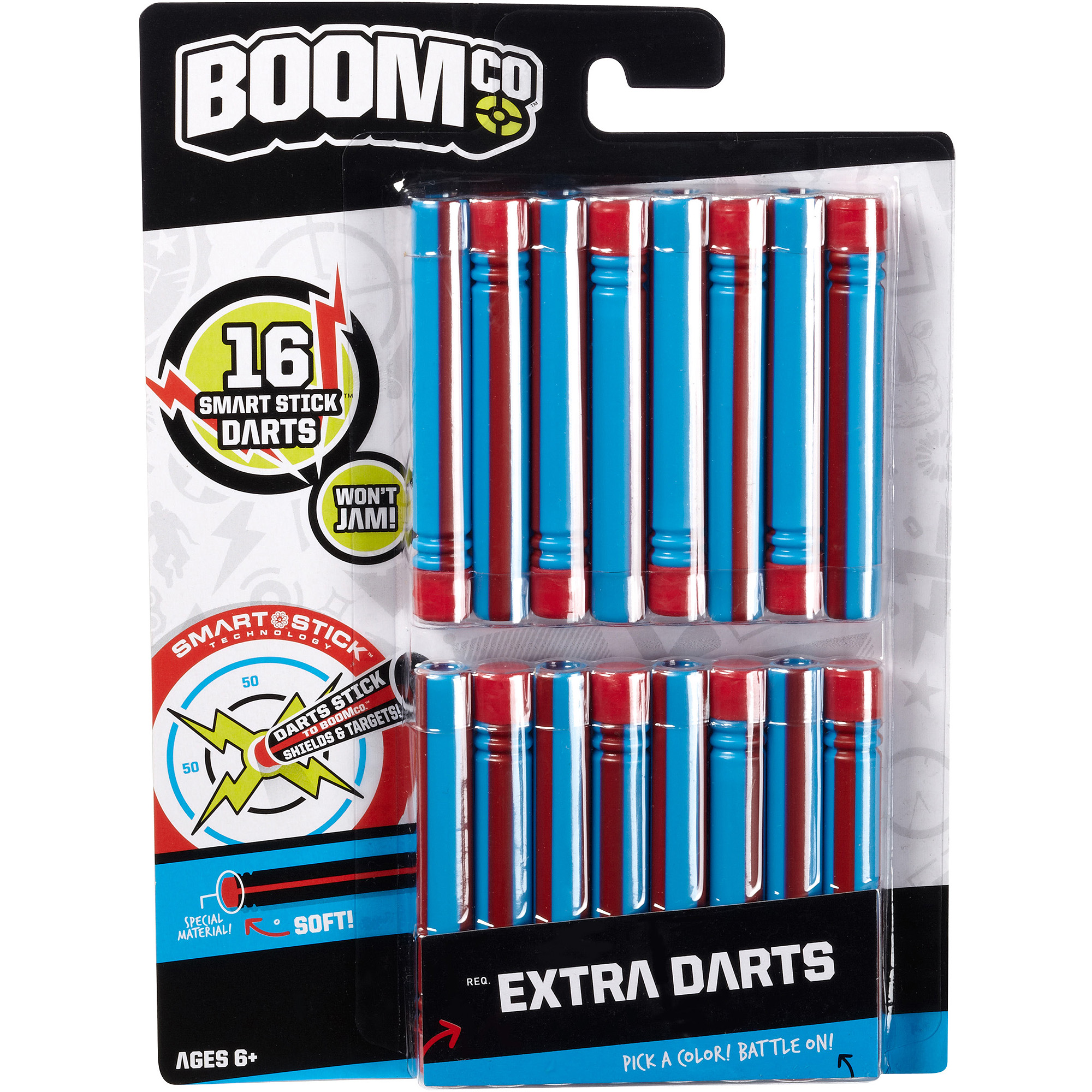 BOOMco. Dart, Blue with Red Stripe, 16-Pack