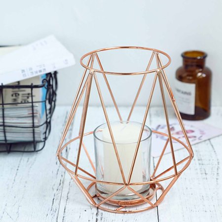 Efavormart 2 Pack | Geometric Metal Wired Candle Holders With Glass Holders - Rose Gold