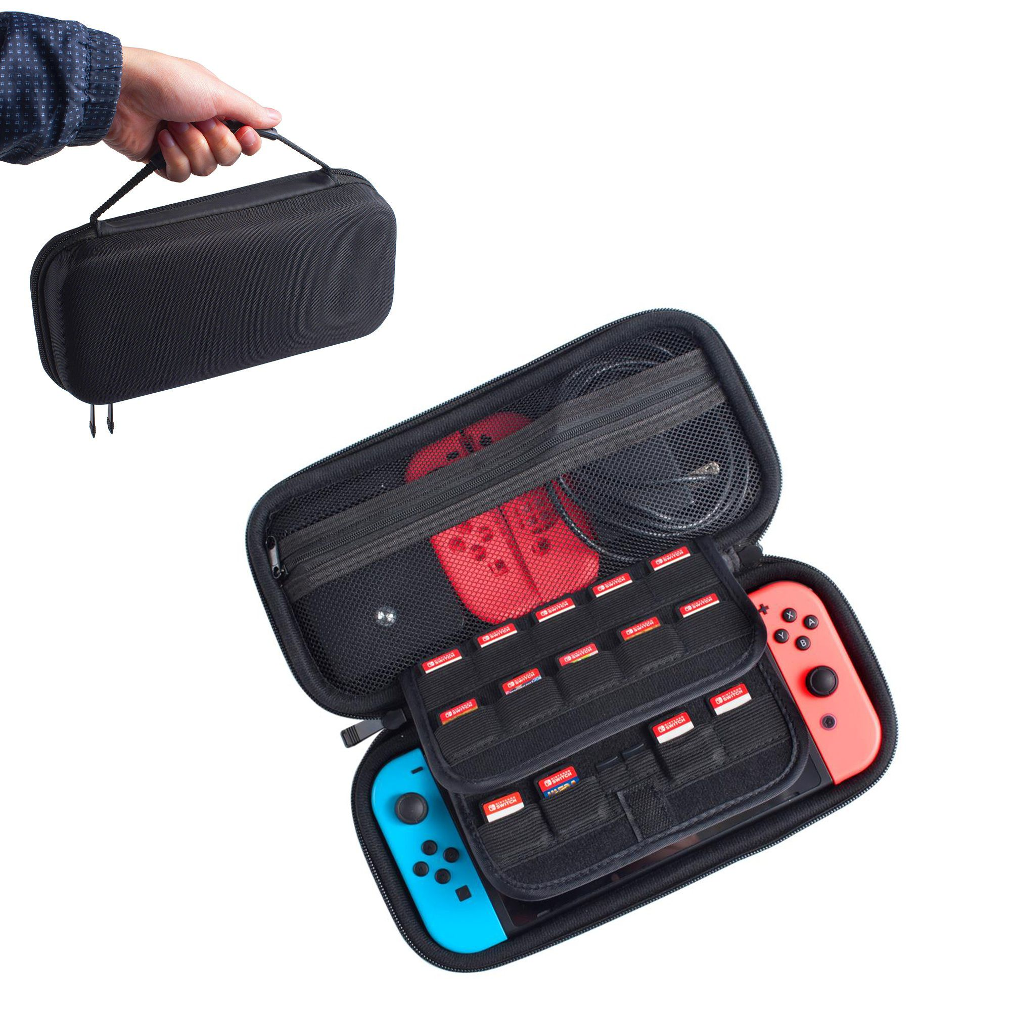 Nintendo Switch Case [29 Game Cart Slots Holder] by Insten Portable Hard Carry Case Zip Bag Pouch for Nintendo Switch Accessories - Game Travel Case Carrying Case Protective Cover, Black