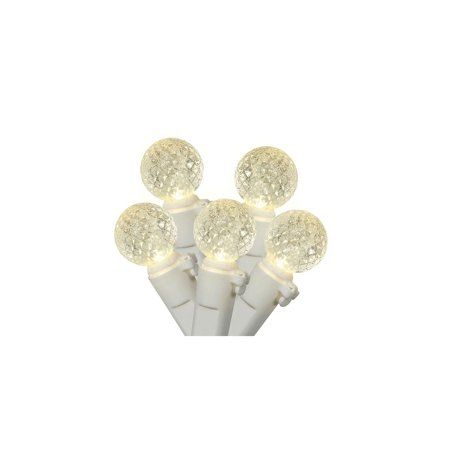 "Set of 50 Warm White LED G12 Berry Christmas Lights 4"" Bulb Spacing - White -"