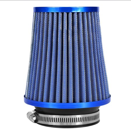 "TMISHION 3"" High Flow Intake Induction Car Round Cone Mesh Air Filter Replacement Part(Blue)"