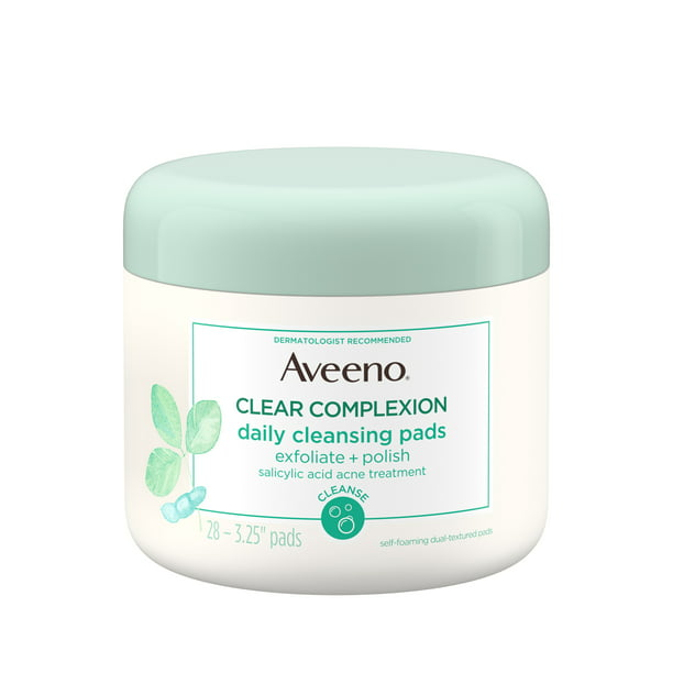 Aveeno Clear Complexion Pads Facial Cleansing Pads, for Oily Skin, Alcohol-Free, 28 Count