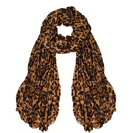 Peach Couture Trendy Women's Leopard Animal Print Crinkle Scarf wrap (Animal Print Scarf)