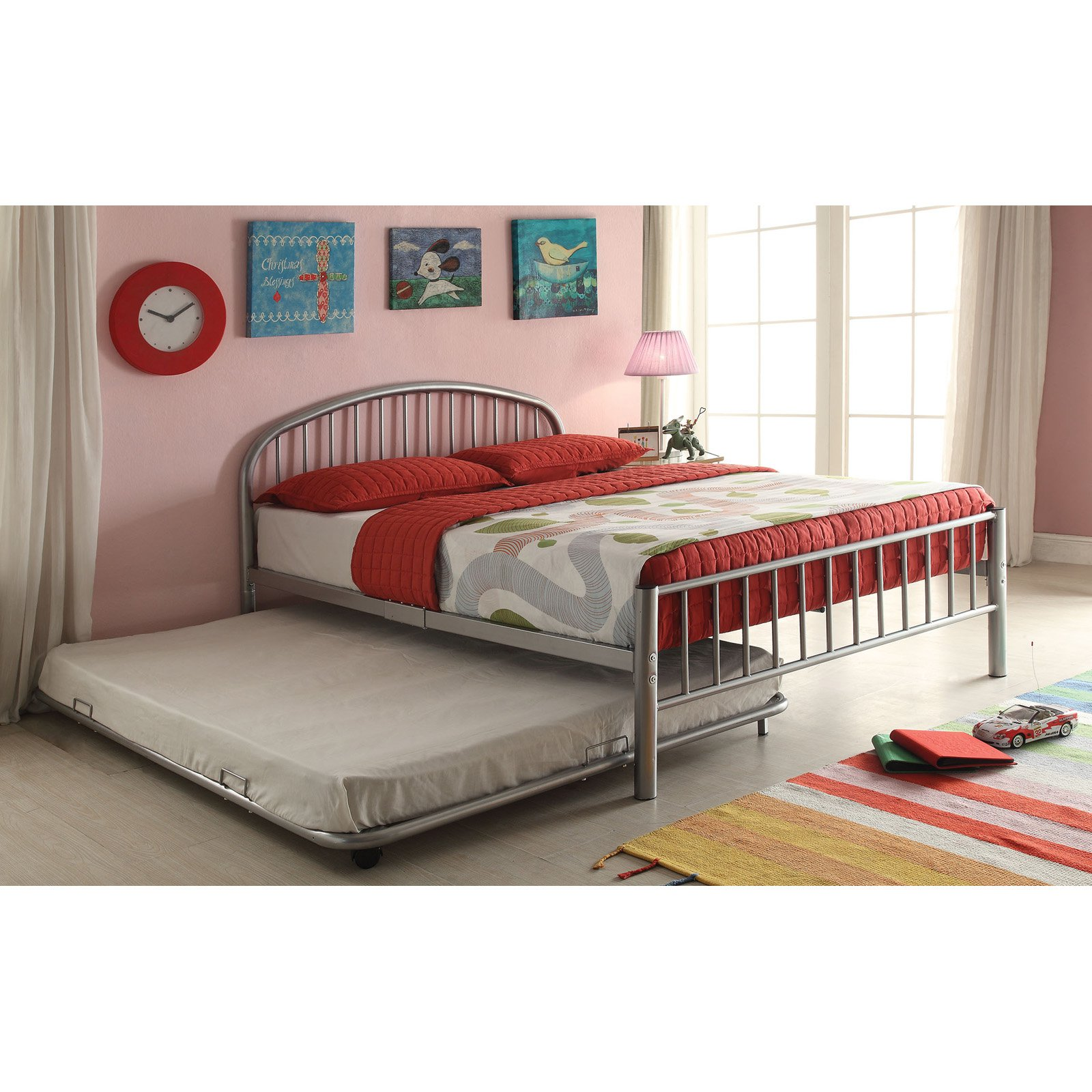 Cailyn twin bed with trundle silver for Twin bed with mattress included