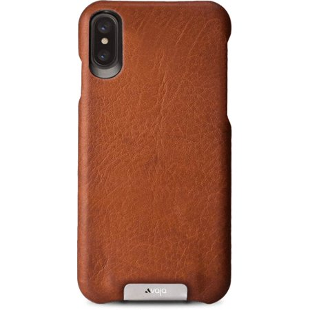 cheaper 4dc82 d9521 Vaja Grip Leather Case for iPhone X - Hard Polycarbonate Frame, Wireless  Charging Compatible - Saddle Tan