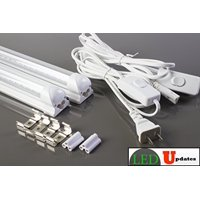 2x 4ft LED shop light Integrated 20w Clear tube garage basement with 6ft toggle switch Power cable
