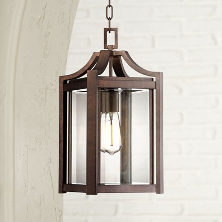 Franklin Iron Works Modern Outdoor Ceiling Light Hanging Rustic Bronze 17