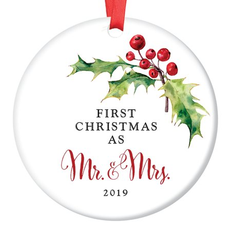 Holly Berry Mr & Mrs Ornament 2019, 1st Married Christmas ...