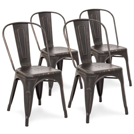 Best Choice Products Set Of 4 Stackable Industrial Distressed Metal Bistro Dining Side Chairs for Home, Dining Room, Cafe - Bronzed Black
