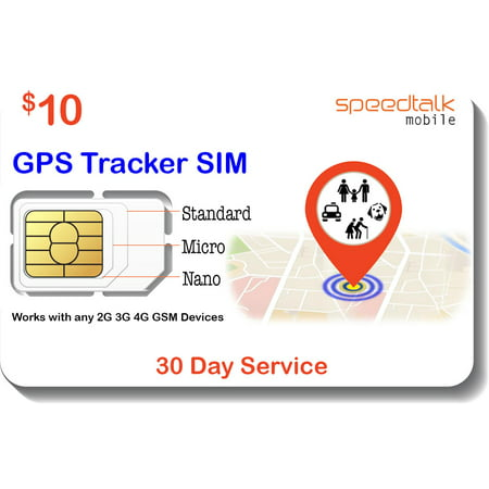 $10 GSM SIM Card for GPS Trackers - Pet Kid Senior Vehicle Tracking Devices - 30 Day Service - USA Canada & Mexico