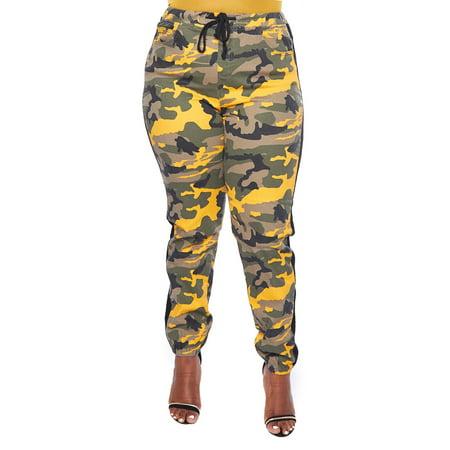 GENx - Womens Plus Side Stripe Color Camouflage Waistband Detail Jogger  Pants RJJ-2057P-3XL-Yellow Camo - Walmart.com 38e9f00278