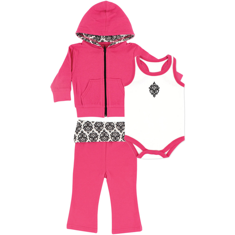 Yoga Sprout Newborn Baby Girls Hoodie, Racerback Bodysuit & Yoga Pant Set - Damask