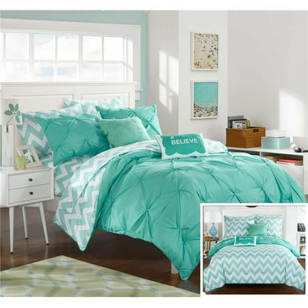Chic Home CS2597-US Heathville Pinch Pleated & Ruffled Chevron Print Reversible Bed in a Bag Comforter Set Sheets with Hashtag Pillow & Pom Pom Velour Pillow - Aqua - Full - 9 Piece ()