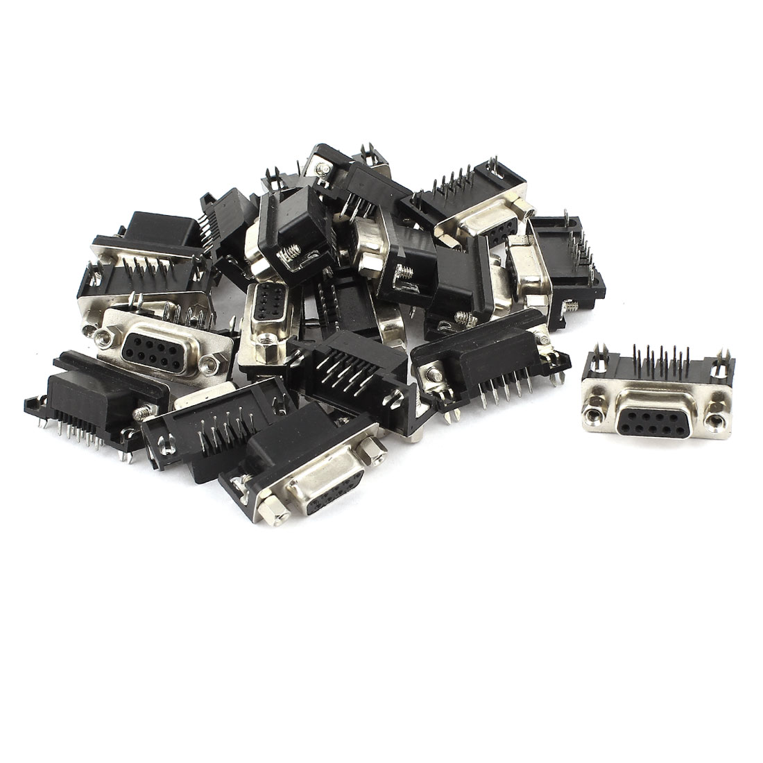 Unique Bargains 20 Pieces Panel Mount Right Angle DB9 RS232 Serial Female Socket Connector