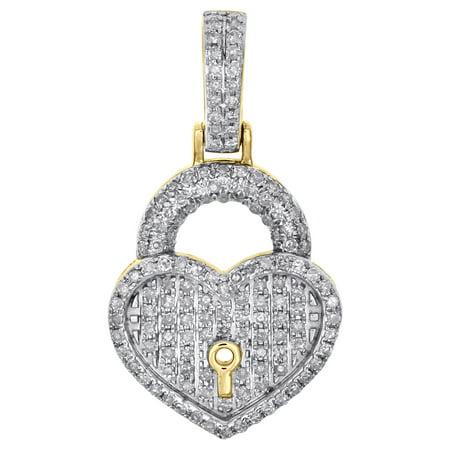 10K Yellow Gold Ladies Diamond Key to Heart Pendant 1.05