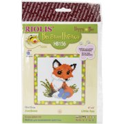 """Little Fox Counted Cross Stitch Kit-6""""X6"""" 10 Count"""