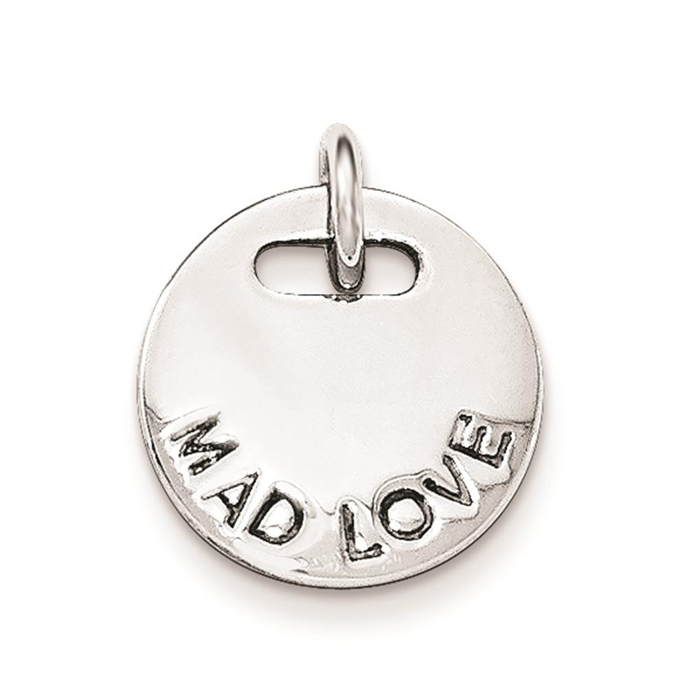 925 Sterling Silver Polished Mad Love Charm Pendant
