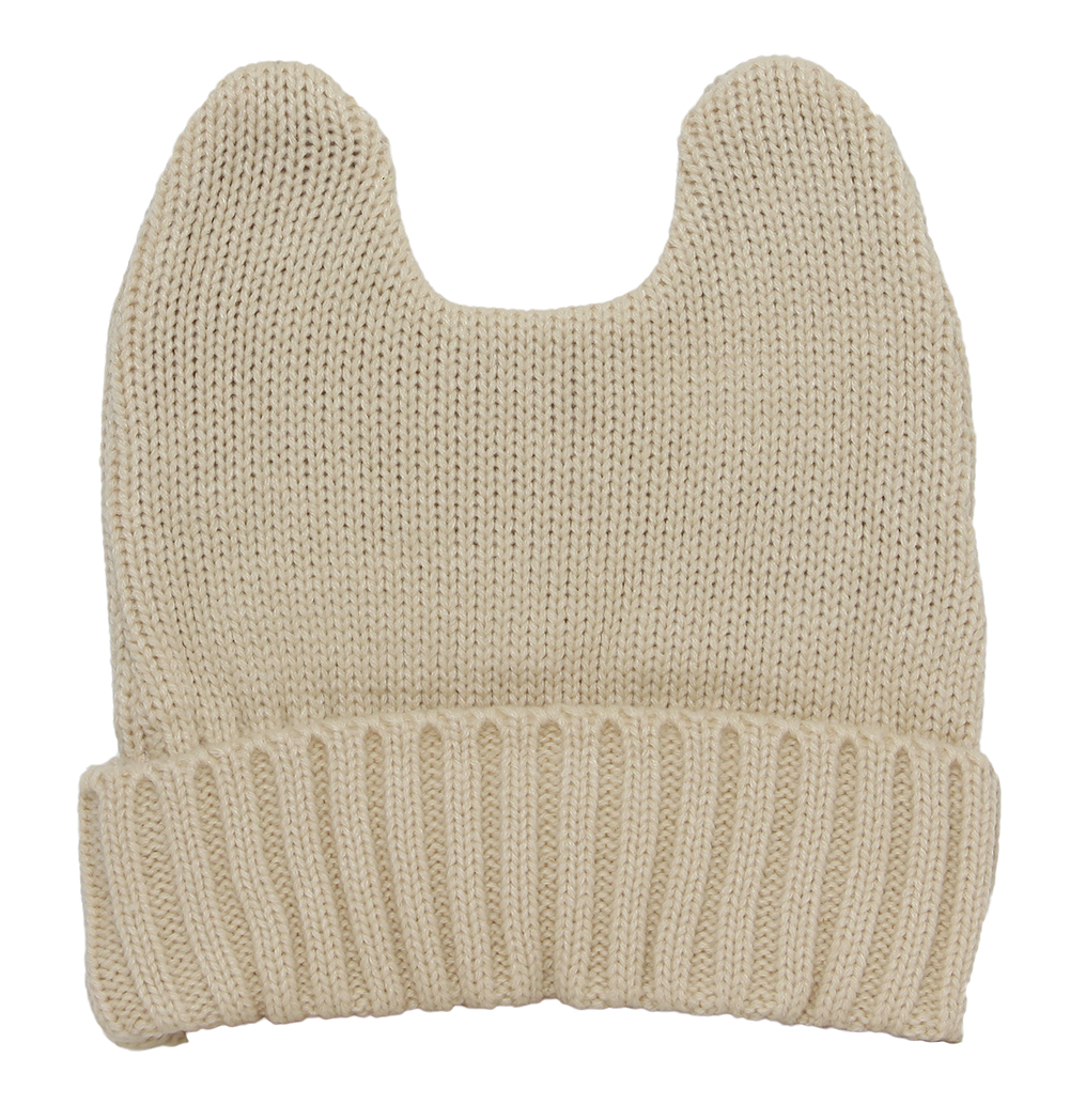 Cute Adventure Ears Rib Knit Beanie - Beige