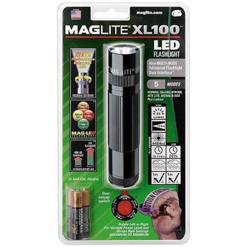 Maglite XL 100 LED High Power Flashlight  5 Modes- Black - XL100 S3016